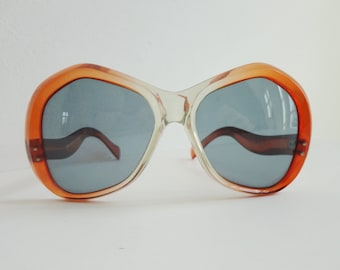 1f29878404ac9 Big Cognac Brown Transparent 70s Vintage Sunglasses    Made In France