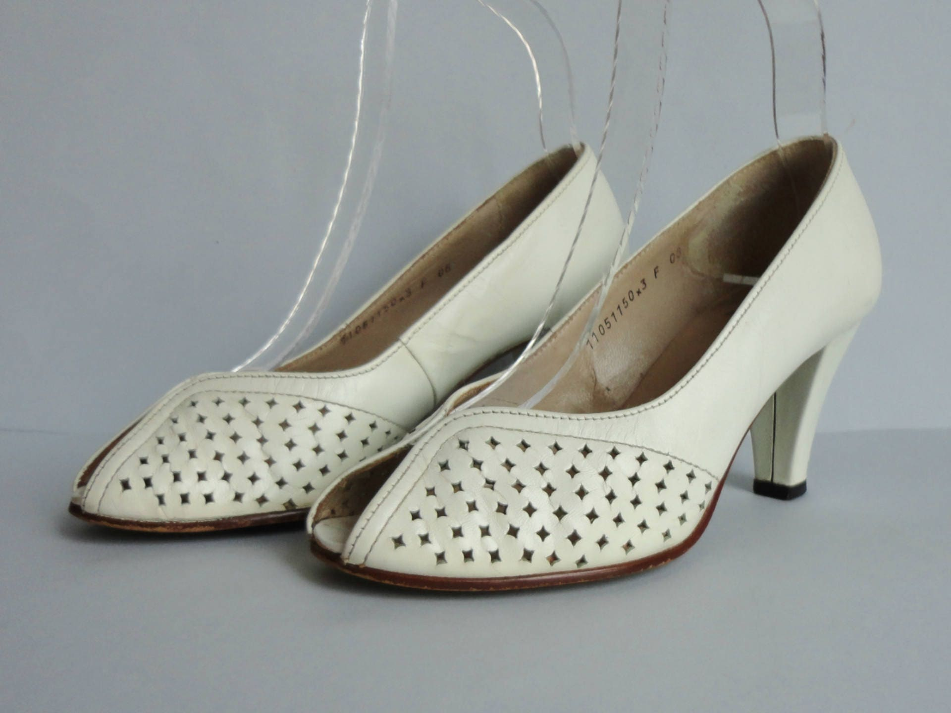 White Vintage Pumps Salamander Leather Shoes Peeptoe Size EU 36 Made In Western Germany