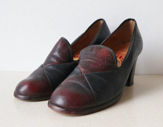 Burgundy/Black 70s Vintage Shoes // Euro Mode // M