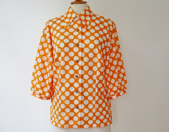 Orange Vtg. Blouse With Big White Polka Dots // Bi