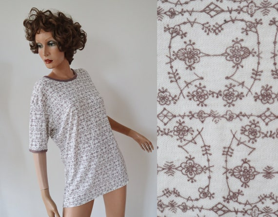 White 60s Vtg. T-Shirt/Underwear With Brown Print