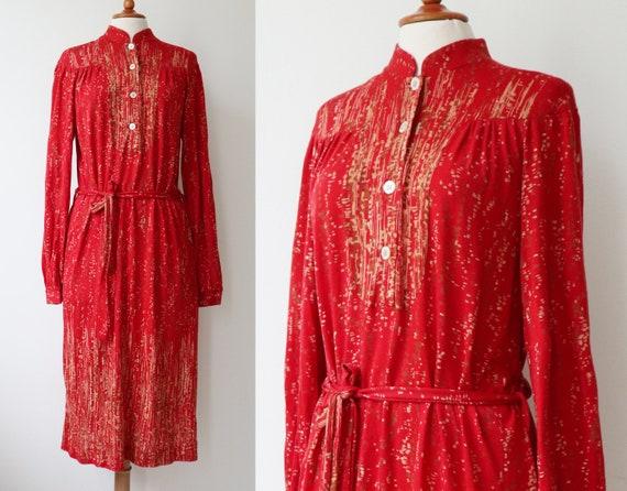 Dress  Belted  Belted  Size M Red Beige 80s Vtg