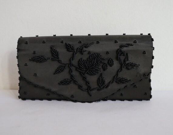 Black Beaded Vtg. Evening Bag // Vegan