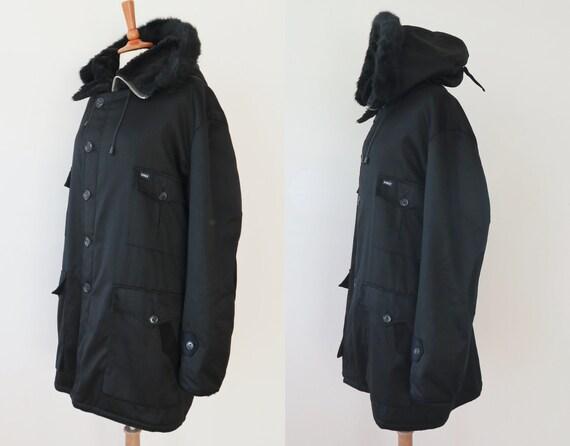 Incroyable homme noir des années Parka 70 à capuche coton Vintage Parka années  manteau avec doublure ... 9f42a9bd093