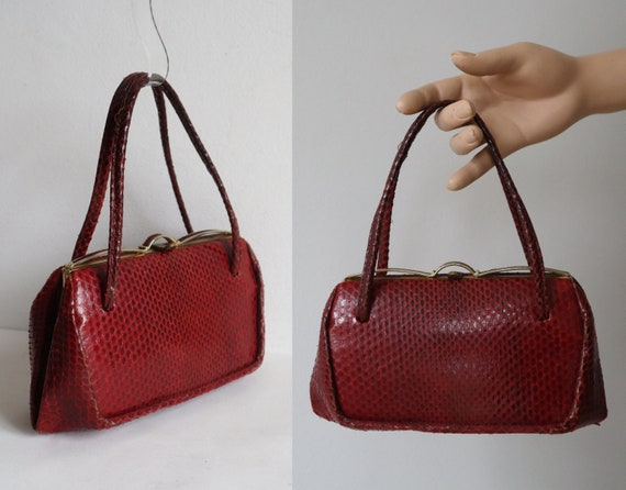 Red 50s Leather/Reptile Top Handle Bag // Snake Sk