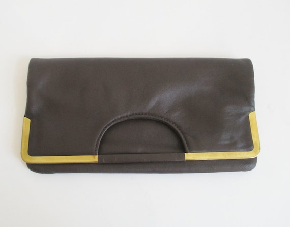 Brown 60s Vintage Vegan Clutch/Top Handle Bag With