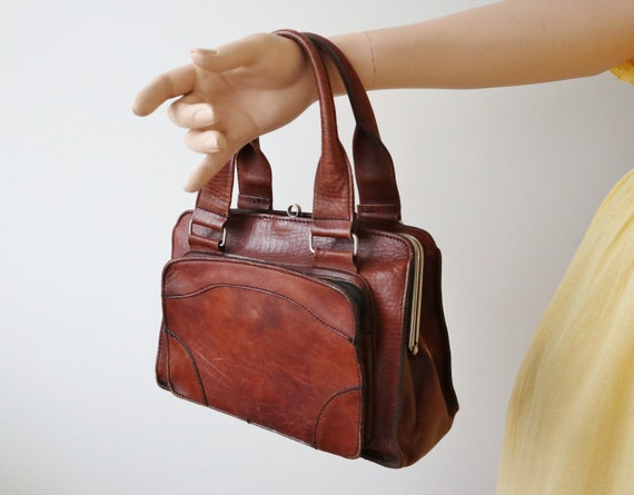 60s Vintage Leather Top Handle Bag