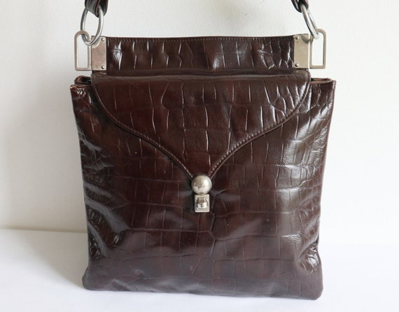 Brown 60s Vtg. Vegan Shoulder Bag With Silver // D