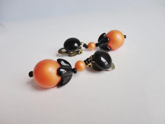 50s Vintage Ear Clips // Orange Black // Golden Br