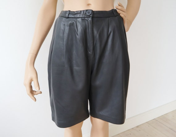 Very Soft Gray Bell Bottom Leather Shorts // Cos /
