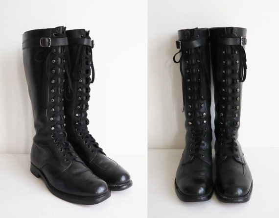 Black 40s Leather Lace Up Boots // Strap With Silv