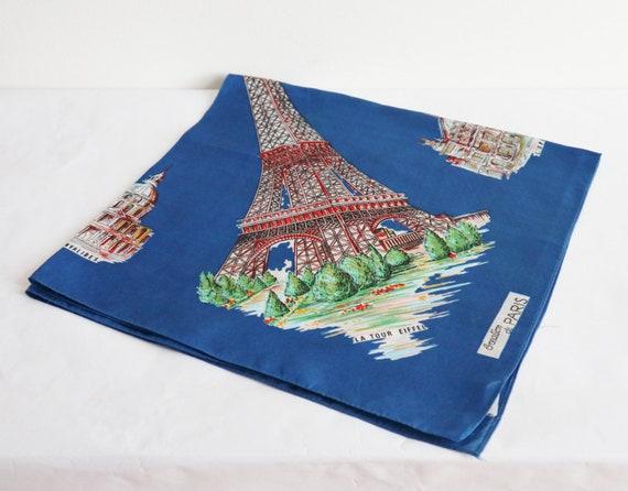 Blue Vtg. Souvenir Scarf // Bonjour Paris // Made… - image 6