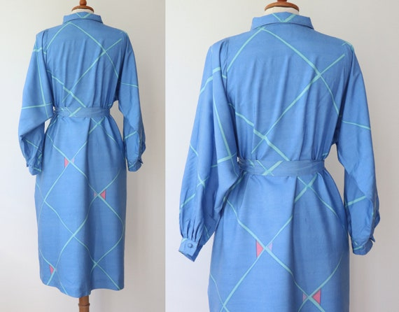 Blue 60s 70s Shirt Dress With Beautiful Print In … - image 2