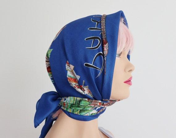 Blue Vtg. Souvenir Scarf // Bonjour Paris // Made… - image 1