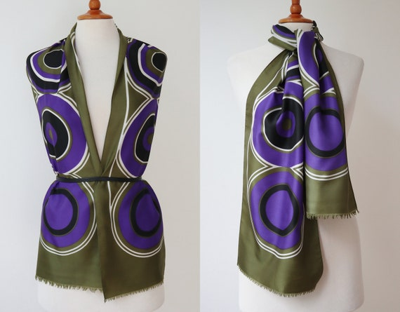 Green 60s  Vtg. Scarf With Purple Circles // Huge