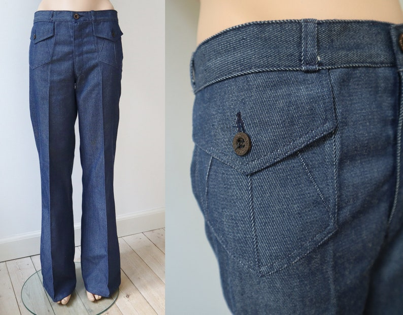 Blue Flared Jeans With Buckle  Bell Bottom   Made  In Budapest