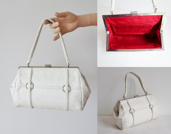 White 60s Vintage Vegan Top Handle Bag With Silver