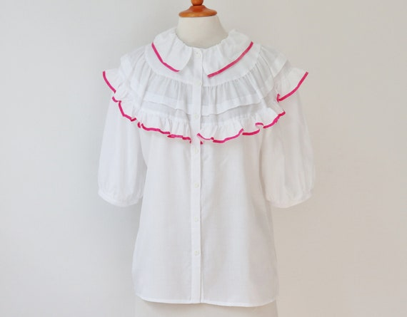 White 80s Vtg. Blouse With Ruffled Collar & Pink R