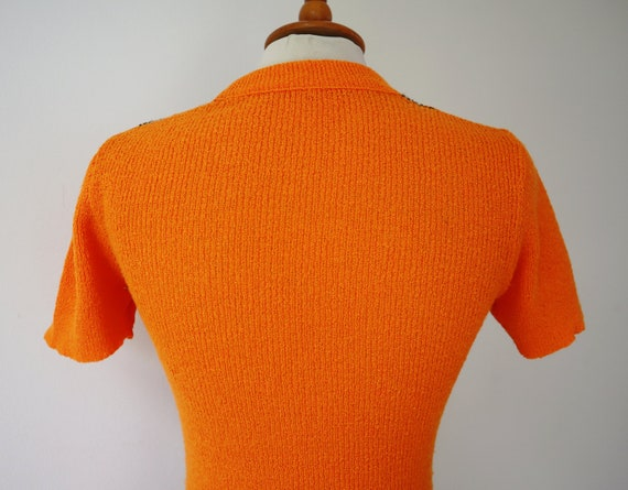 Orange 60s Slim Fit Blouse // Fitted Top With Bro… - image 6