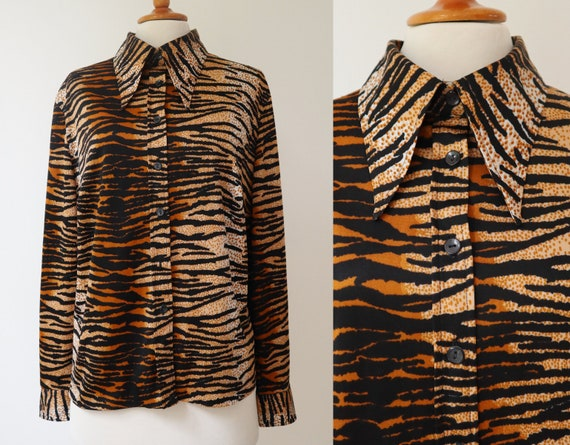 80s Vtg. Lady Shirt // Tiger Print // Big Collar
