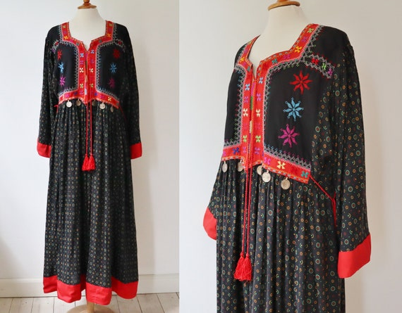 Hand Embroidered Ethnic Kuchi Afghan Maxi Dress Wi