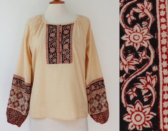 Vanille Colored 90s Hippie Top // Red Brown/Black