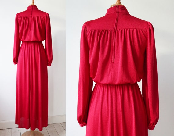 Lovely Red 70s Vintage Maxi Dress // High Neck //… - image 2