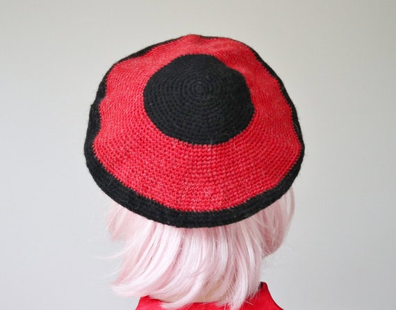 Red/Black Beret Hat // Hand Chrocheted