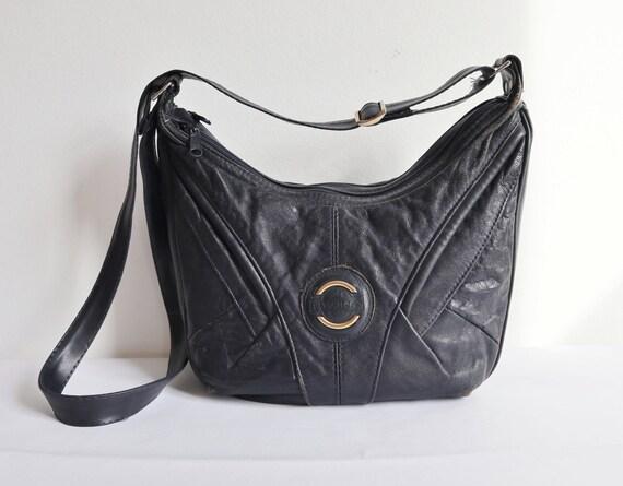 Blue 80s Vintage Leather/Vegan Bag // Shoulder Bag