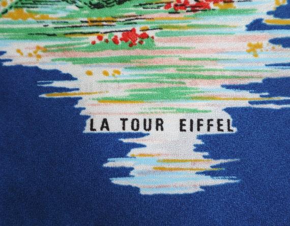 Blue Vtg. Souvenir Scarf // Bonjour Paris // Made… - image 8