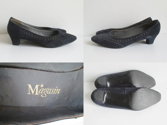 Dark Blue 60s Suede Shoes // Magasin // Size 38 - image 5