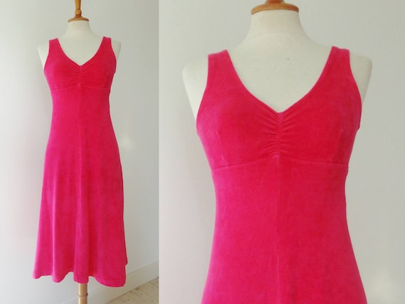 60s Pink Vintage Terry Cloth Dress // Pink // Size
