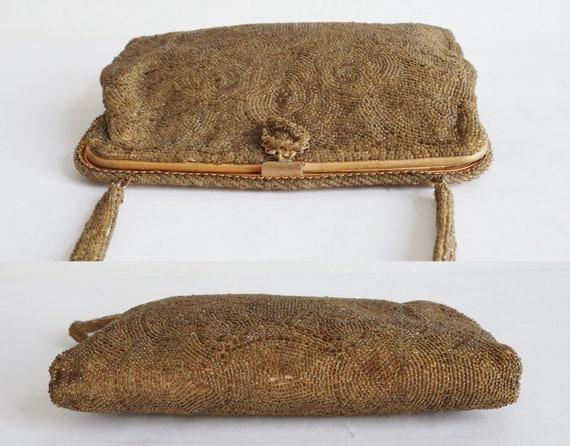 60s Golden Beaded Vintage Bag With Golden Closure… - image 9