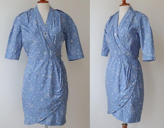 Structured Blue Thierry Mugler Paris Vintage Wrap