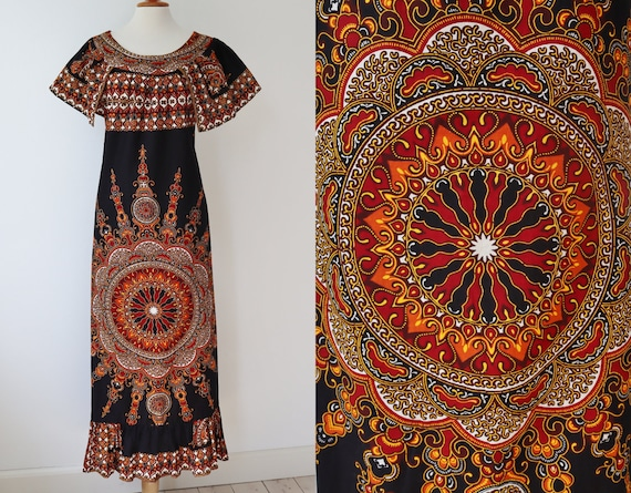 Original 70s Hippie Maxi Dress // BIBA of Sweden /