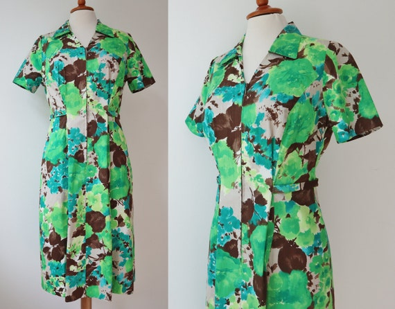 Green/Brown/Beige/Blue 70s Vintage Dress // Front