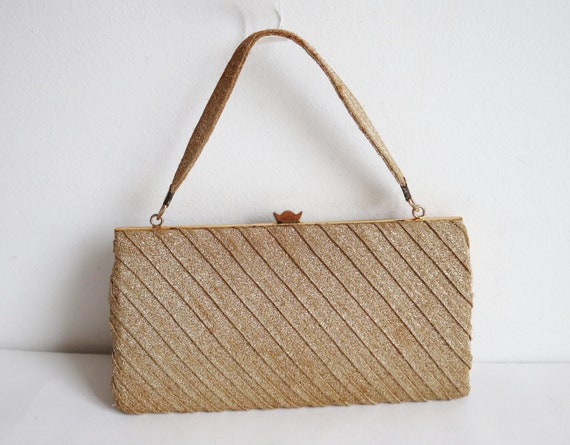 Golden 60s Vtg. Evening Bag // Top Handle Bag