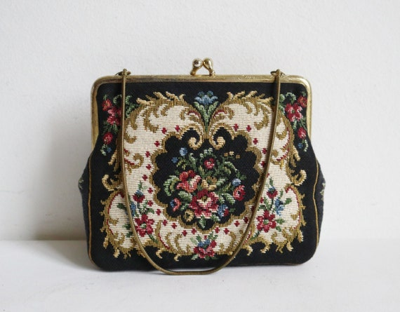 Lovely 60s Embroidered Top Handle Bag With Flowers