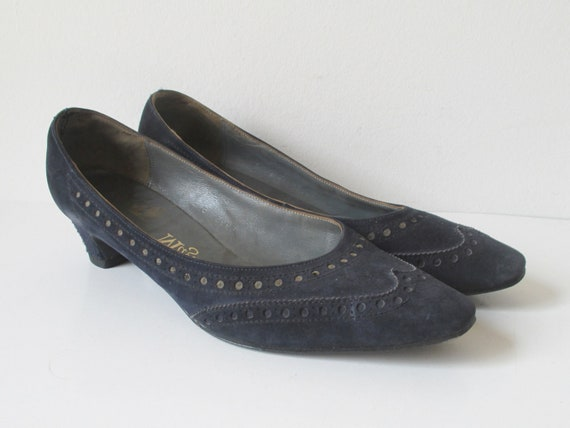 Dark Blue 60s Suede Shoes // Magasin // Size 38 - image 8