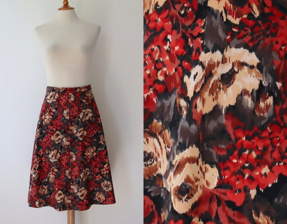 Handmade A Line Skirt With Red Gray Brown Flowers