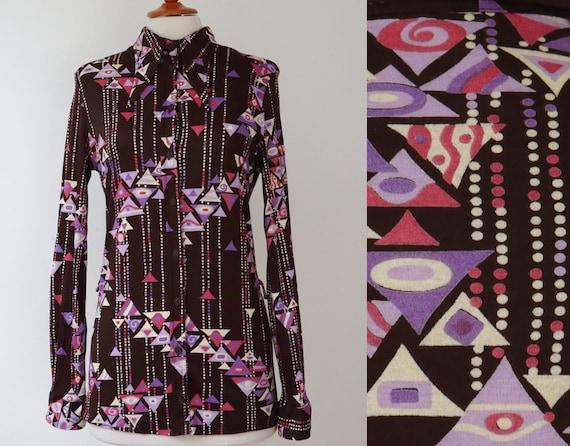 Lady Blouse  Big Collar  Size M Purple 70s Vtg