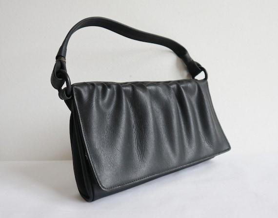 Black 50s Vintage Shoulder Bag With Drapes // Vega