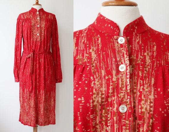 Red Beige 80s Vtg. Dress // Belted // Belted // Si