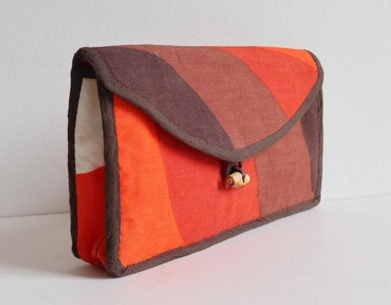 Orange Brown Ivory 70s Cosmetic Bag Clutch // 100%