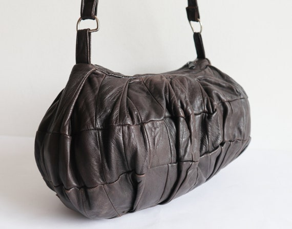 Very Soft Brown 80s Vtg. Leather Patchwork Bag //