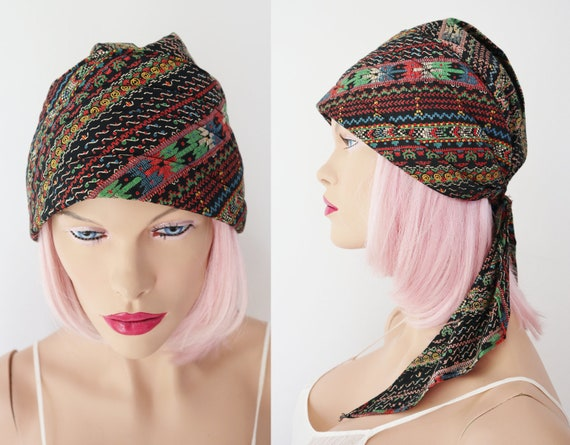 Black/Multi Colored 70s Headscarf // Ready To Wear