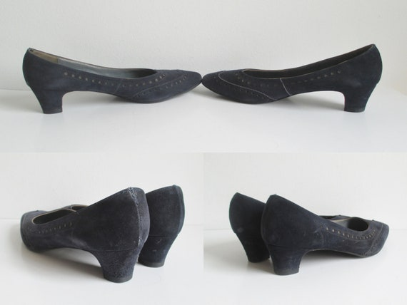 Dark Blue 60s Suede Shoes // Magasin // Size 38 - image 4