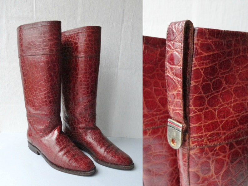 cd9739a02ca1e Cognac Brown Vintage Leather Boots // Chellis Venezia // Lined // Croco  Print // Size 37 // Made In Italy