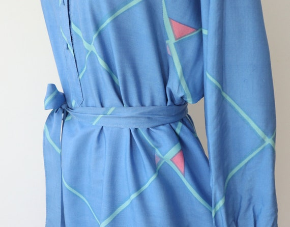 Blue 60s 70s Shirt Dress With Beautiful Print In … - image 5