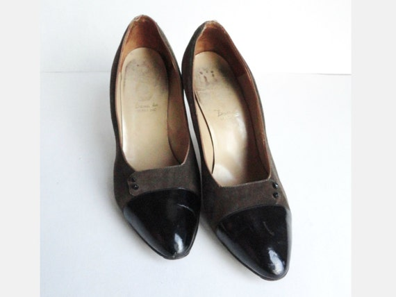 850bcafb2dd 50s Suede And Patent Leather Pumps // Dana Sko // Black Brown   Etsy